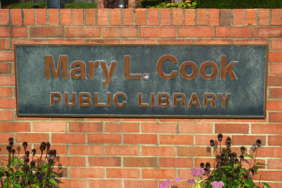 Mary L Cook Library street sign